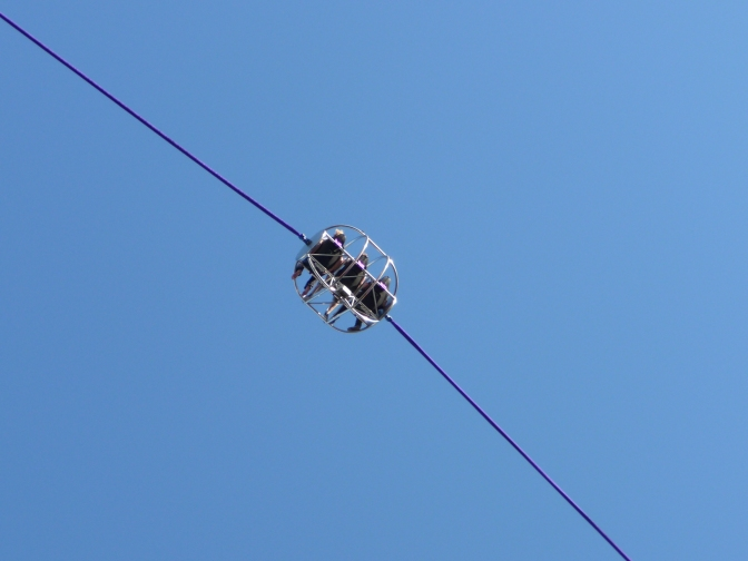 Up in the air on the reverse bungy jump