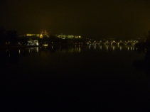 Lights along the Vltava river