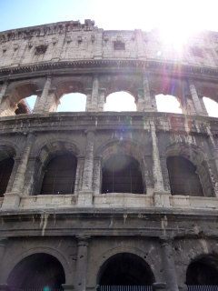 Looking up at the Colosseum