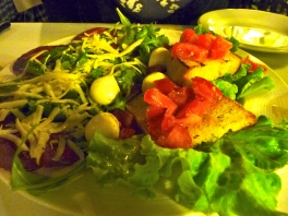 First Night's Dinner - Anitpasti, Salad, Bruschetta - Delicious!
