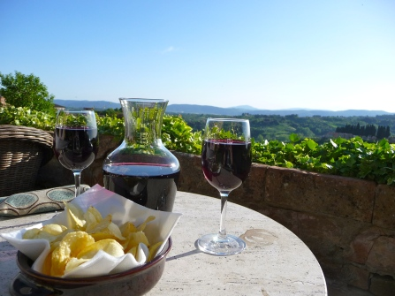 Wine and crisps on our back patio. Overlooking Tuscany.