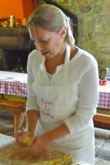 Danielle kneading the pasta dough