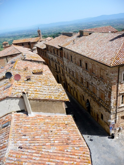 Looking down from the roof of town hall in Montepulciano