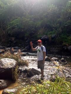 Paul crossing the river